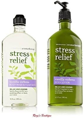 Bath & Body Works Aromatherapy Stress Relief Vanilla Verbena Bundle - Body Lotion & 10 Body Wash and Foam Bath