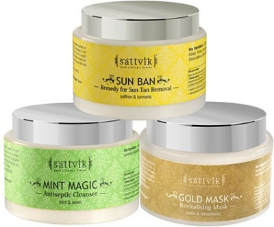 Sattvik Organics SKINTILATING COMBO Plus- (Mint Magic 100gm, Gold Mask 100gm, Sun Ban 100gm)