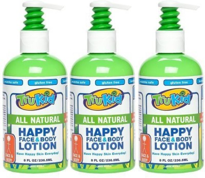 TruKid 3 Pc Value Pack: Happy Face & Body Lotion - Super Safe & Sensitive Lotion