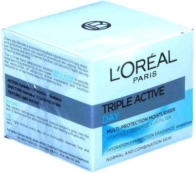 L,Oreal Paris Triple Active Multi Protection Day Moisturiser 24h hydration Normal to Combination Skin