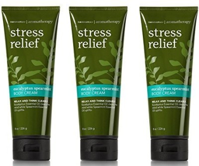 Bath & Body Works Lot of 3 Aromatherapy Eucalyptus Spearmint Stress Relief Body Cream (Eucalyptus Spearmint), each