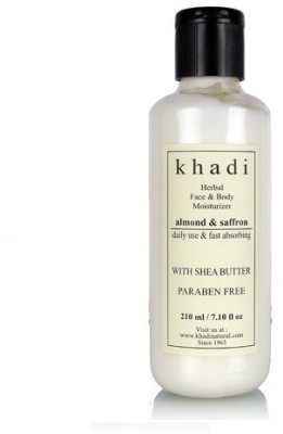 khadi Natural Herbal Face & Body Moisturizer - Almond & Saffron with Shea Butter & Paraben Free