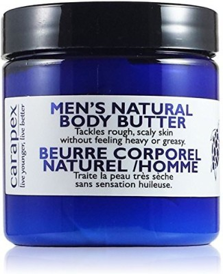 Carapex Natural Body Butter for Men, for Extreme Dryness, Extra Dry Skin, Deep Moisturizer, Unscented with Jojoba, Beeswax