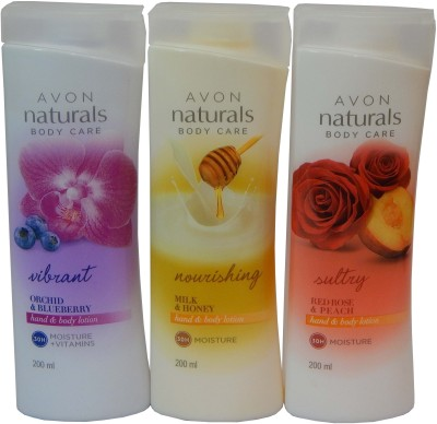 Avon Naturals Body Care Vibrant & Nourishing & Suttury Hand & Body Lotion (Set Of 3)