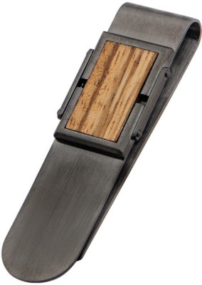 Inox Jewelry SSMC14458 Stainless Steel, Wooden Money Clip