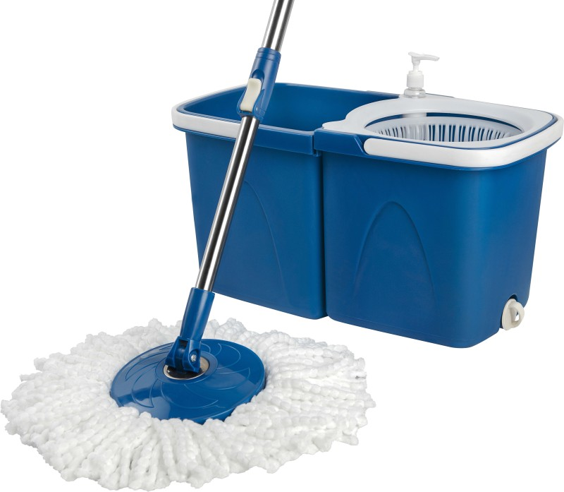 Gala Twin Bucket Spin Mop Set(Built in Wringer Blue, White)