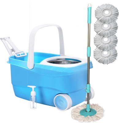 Cherrylite Smart Magic Steel Spin Blue Bucket With Wheels & Extra 4 Refills Mop Set