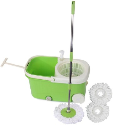 Satnam Easy Spin Blue Bucket With Wheels and Extra 2 Mop Refill Mop Set