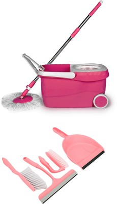 Wonder Spin Mop with 4 pc Home Cleaning kit Mop Set(Built in Wringer Pink)