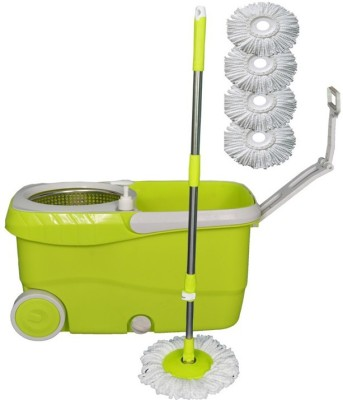 Easyhome Cleanwell Steel Spin Green Bucket With Jumbo Wheels and 5 Refills Mop Set