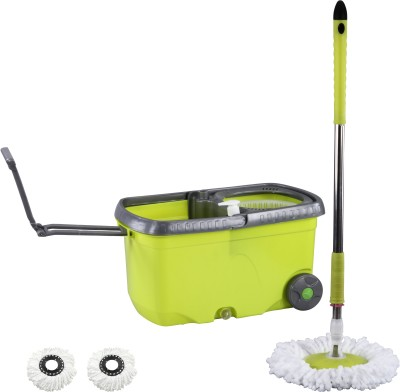 Evana Green CleanSweep with Wheels Mop Bucket Mop Set(Built in Wringer)