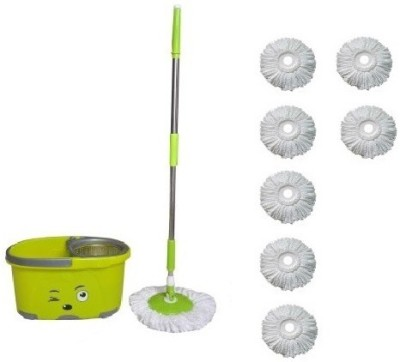 WDS Easy Cleaning Floor Bucket with 7 Absorber Mop Set