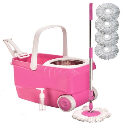 Cherrylite Cleanwell Steel Spin Pink Bucket With Wheels and Extra 4 Mop Refills Mop Set