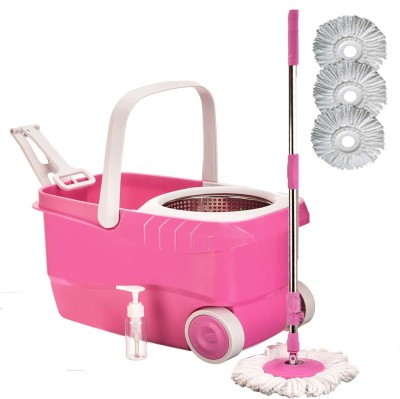Cherrylite Cleanwell Steel Spin Pink Bucket With Wheels and Extra 3 Mop Refills Mop Set