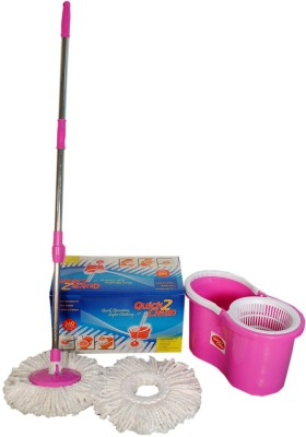 Quick 2 Clean Quick 2 Clean Pink spin Mop with microfibre Mop Set