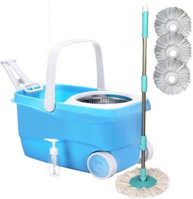 Cherrylite Cleanwell Steel Spin Blue Bucket With Wheels and Extra 3 Mop Refills Mop Set