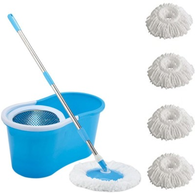 ECO SHOPEE ECO SHOPEE STEEL SUPER MAGIC MOP WITH FOUR MICROFIBER (Product Colour may vary as availability) Mop Set