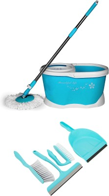 Wonder Spin Mop with 4 pc Home Cleaning kit Mop Set(Built in Wringer Blue)
