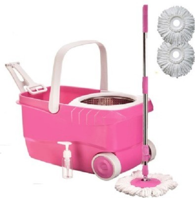 WDS Wds Cleanwell Steel Spin Pink Bucket With Wheels and Extra 2 Refills Mop Set