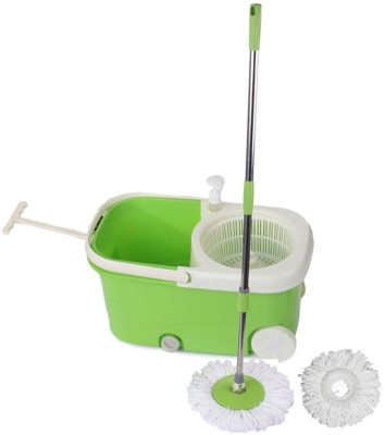 satnam Spin Green Bucket With Wheels & Extra 1 Refills Mop Set Mop Set