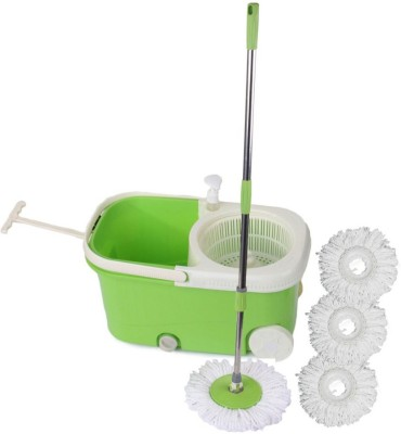 Satnam Easy Spin Blue Bucket With Wheels and Extra 3 Mop Refill Mop Set