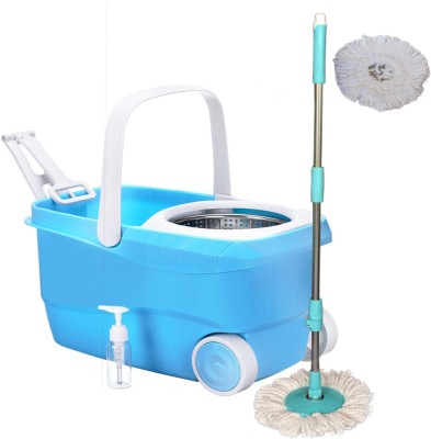 Cherrylite Cleanwell Steel Spin Blue Bucket With Wheels and Extra 1 Mop Refill Mop Set