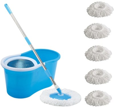 ECO SHOPEE ECO SHOPEE STEEL SUPER MAGIC MOP WITH FIVE MICROFIBER (Product Colour may vary as availability) Mop Set