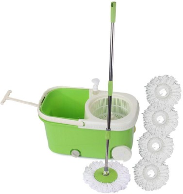 Satnam Easy Spin Blue Bucket With Wheels and Extra 4 Mop Refill Mop Set