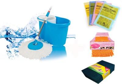 Royaldeals RD-Complete Cleaning Combo Mop Set(Built in Wringer Multicolor)