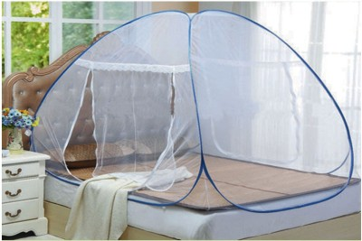 Ans Twist Folding Mosquito Net Double Bed Mosquito Net(Blue)