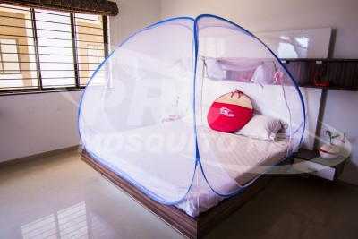 Prc Net Double Bed Blue Mosquito Net(Blue)