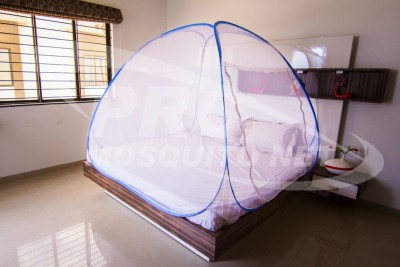 PRC Net Double Bed Blue Mosquito Net(White)