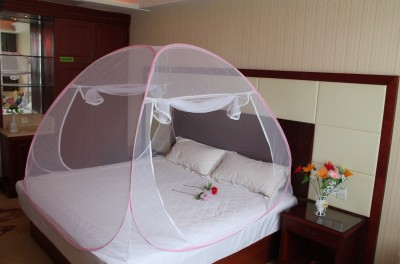 Royal Double Bed Foldable Mosquito Net Mosquito Net(White, Pink)