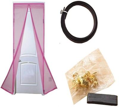 KARP Good Quality Summer Magnetic Stripe Magic mesh polyester Door Curtain-Pink Anti Mosquito Net