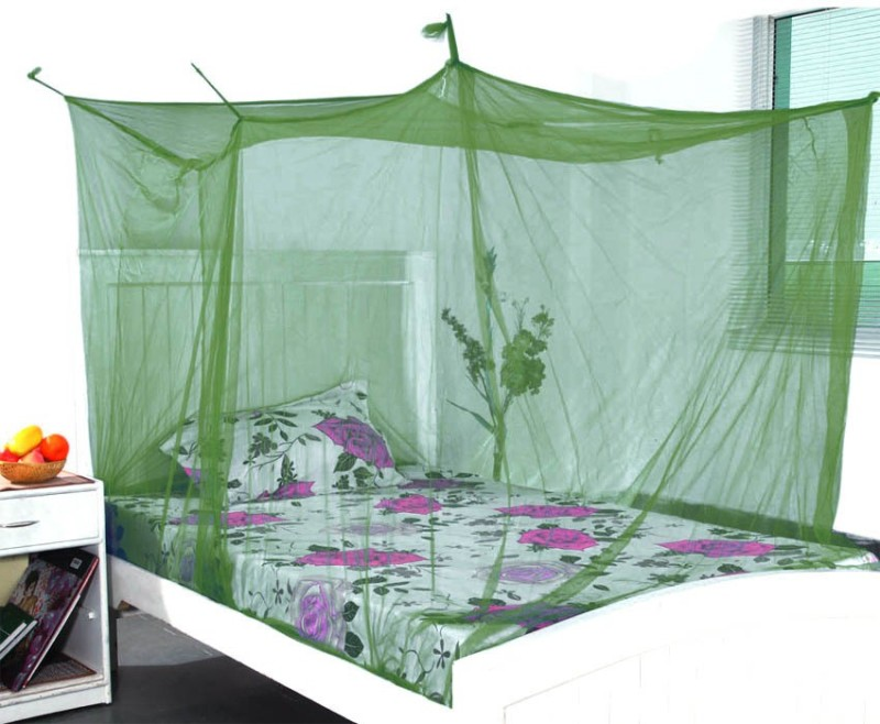 Shahji Creation Nylon Adults Double Bed Green 6X6 feet Best Quality Mosquito Net(Green)