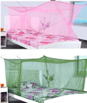 Elegant Double Bed Pinkgreen Combo With Cotton Brodar Mosquito Net