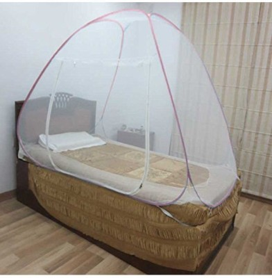 Royal Single Bed Foldable Mosquito Net Mosquito Net(White, Pink)