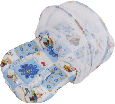 Affaires Bed Cotton-Padded Pillow Infant Mattress Foldable - Portable Tent (Blue) Mosquito Net