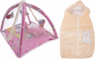 ROYAL SHRI OM BABY BEDDING WITH MOSQUITO NET (PLAYGYM)AND BABY WRAPPER Mosquito Net