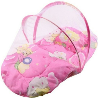 Chinmay Kids Pink Color Printed Cotton Padded Bed Net Mosquito Net