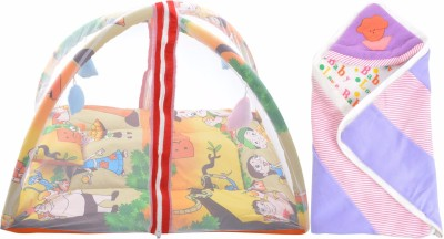 ROYAL SHRI OM Baby Sleeping Bed with Net(Playgym) & Reversable Baby Wrapp Mosquito Net