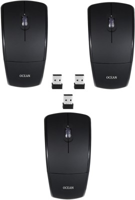 RoQ Sets Of 3 Ocean 2.4Ghz Foldable ARC Wireless Optical Mouse Gaming Mouse(USB, Black)