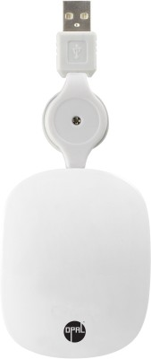 Opal Retractable White Wired Optical Mouse