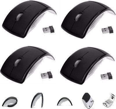 sangaitap Combo Offer Of 4 Pcs Usb Stylish Folding Black Mice With Mini Usb Reciever For Pc Laptop Wireless Laser Mouse Gaming Mouse(Bluetooth, Black)