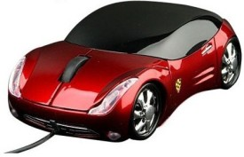 Tech Gear Designer Ferrari Car Shape Wired Optical Mouse(USB, Red, Black)