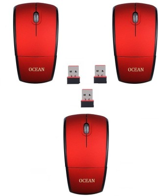 RoQ Sets of 3 Ocean 2.4Ghz Foldable ARC Wireless Optical Mouse Gaming Mouse(USB, Red)
