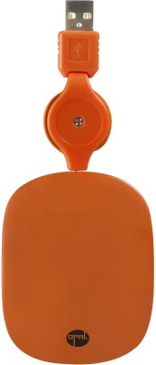 Opal Retractable Orange Wired Optical Mouse