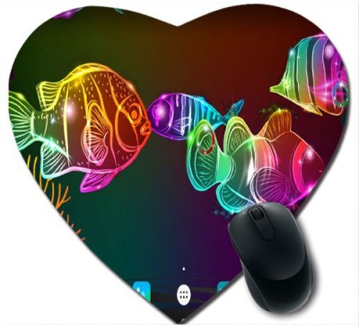 awwsme Colourful Rainbow Fishes Heart Mousepad
