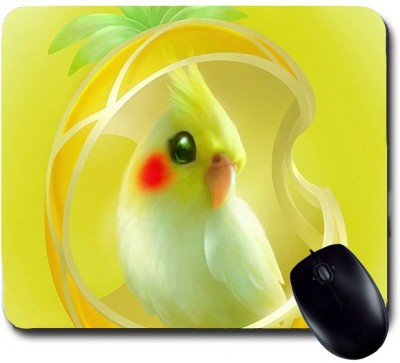 Awwsme Cute Bird With A Beautiful Yellow Background Mousepad