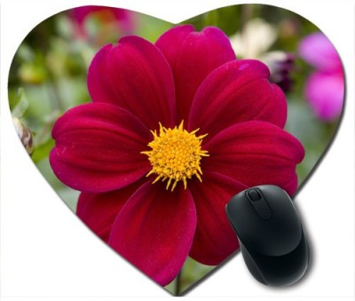 Awwsme Red And Yellow Flower Heart Mousepad